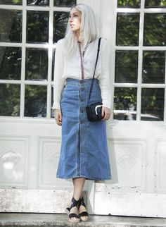Ethno-Bluse, denim skirt, summer, look, style, outfit
