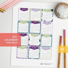 Printable Calendar 2017 di BumbleBeasy su Etsy https://www.etsy.com/it/listing/469225935/printable-calendar-2017