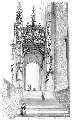 Architecture Drawing Discover Gothic Drawings from an Architect in Century South Gate of Albi Cathedral. Gothic Drawings from an Architect in Century. By Eugène Viollet-le-Duc. Gothic Architecture Drawing, Cathedral Architecture, Classic Architecture, Beautiful Architecture, Architecture Religieuse, Gothic Drawings, Gravure Illustration, Art Roman, Gothic Buildings