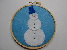 Snowman  Hoop Art by HERTrinkets on Etsy, $11.00