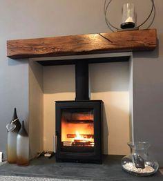 A gallery of quality oak fireplace beams and oak mantles - Best My Lounge deas Oak Beam Fireplace, Oak Mantle, Log Burner Fireplace, Home Fireplace, Fireplace Surrounds, Fireplace Design, Fireplace Gallery, Fireplace Suites, Wood Burner