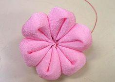 step by step tutorial, Japanese craft, six petal silk flower.