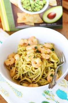 Linguine with shrimp, avocado, and parmesan cheese. Season with salt, pepper, and red pepper flakes. Easy dinner, done! Use whole wheat pasta.