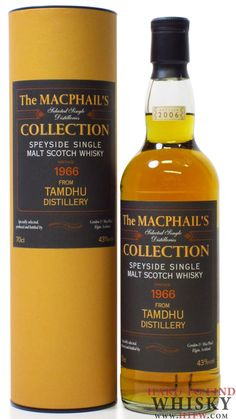 Tamdhu 40 year old Single Malt Whisky - Distilled in  1966 and bottled in 2006 at the Tamdhu Distillery.  The bottler is Gordon & MacPhail. The palate is quite full and rich. The finish is long and smoky with wood resins.