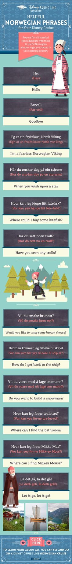 Learn a few helpful Norwegian phrases for your next Disney Cruise! -- not going on the cruise but do have family from there visiting next weekend :-) may have to try one of these lol Cruise Port, Cruise Tips, Lappland, Oslo, Oh The Places You'll Go, Places To Travel, Norway Travel, Cruise Norway, Bon Plan Voyage