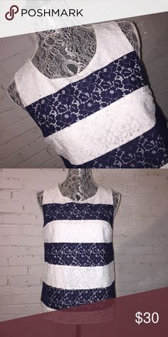 STITCH FIX SKIES ARE BLUE Striped Lace Top EUC. Puppy-loving smoke-free home. Sorry-no trades. All offers will be considered but please be respectful of the brand and the condition :) 20% discount if you bundle two or more items!  🛍 Happy Shopping! 🛍 skies are blue Tops Tank Tops