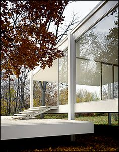 Terrace and steps leading from the ground to the interior of the Farnsworth House by Ludwig Mies van der Rohe.