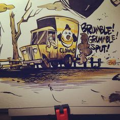 🚚 Lots to draw today so here's a muddy little clown truck for #inktober day2 @inktober #noisy #speedballsuperblack#liquitexink#copicmarkers
