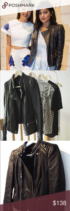 Trafaluc Real Leather Moto Jacket as seen on... Seen on Kendall and Kylie Jenner! Lamb leather moto jacket. Good hardware details along with quilting on shoulders and back. A style staple. Lamb leather is more flexible and is what Chanel bags are made out of. Little wear, no scuffs, completely lined, very warm, and perfect for any outfit. Don't miss out on this! Zara Jackets & Coats