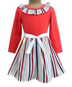Red Stripe Ruffle A-Line Dress - Infant Toddler & Girls