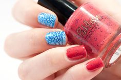Nailpolis Museum of Nail Art | Red and blue paisley stamping combination by Zara TracesOfPolish