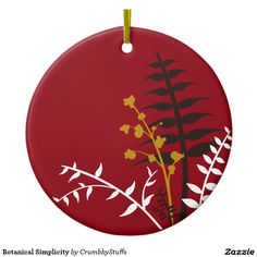 Botanical Simplicity Double-Sided Ceramic Round Christmas Ornament