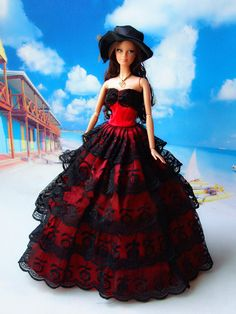 Handmade barbie dress  / Black lace skirt / Barbie doll clothes