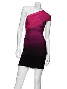 Herve Leger One shoulder ombre dress in pink lavender & dark purple