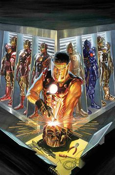 Iron Man: The Golden Avenger Alex Ross Marvel Comics Art, Marvel Heroes, Captain Marvel, Marvel Avengers, Captain America, Ms Marvel, Avengers Shield, Alex Ross, Iron Man Kunst