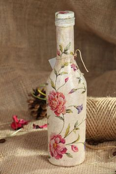 Bottle made using decoupage technique