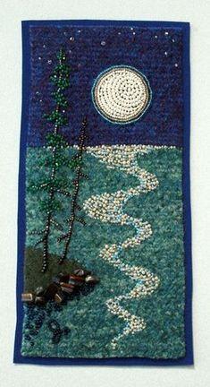 Large photo of Moon Trail hashtags Mosaic Art, Mosaic Glass, Glass Art, Jo Wood, Seed Bead Art, Mosaic Projects, Mosaic Ideas, Landscape Quilts, Mosaic Designs