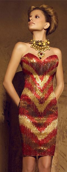 Nicolas Jebran - Gold & Red Haute Couture - I love the print - it is unudual and still looks good. Beauty And Fashion, High Fashion, Red Fashion, Beautiful Gowns, Beautiful Outfits, Glamour, Pretty Dresses, Dress To Impress, Strapless Dress Formal