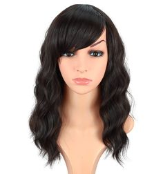 Medium Long Dark Brown Wavy Synthetic Hair Wigs For Black Women Shoulder Length Curly Wigs Heat Resistant Wigs With Free Wig Cap 16 Inches. (DARK BROWN(2#)) Curly Wigs, Hair Wigs, Best Wigs, Wigs For Black Women, Wig Cap, Medium Long, Synthetic Hair, Shoulder Length, Wig Hairstyles