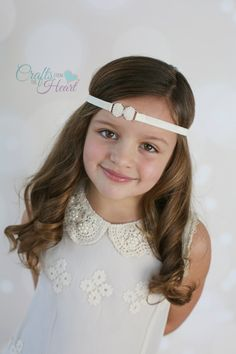 Bow Headband - Newborn Headband - Baby Girl Headband - Flower Girl Headband - Pearl Bow Headband - Pearl Bow Headband - Ivory Headband - Bow by PACraftsfromtheHeart on Etsy