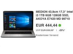"""Ebay: Medion Akoya E7420 MD 99710 mit 128 GByte SSD für 444,44 Euro frei Haus https://www.discountfan.de/artikel/technik_und_haushalt/ebay-medion-akoya-e7420-md-99710-mit-128-gbyte-ssd-fuer-444-euro.php Mit dem Medion Akoya E7420 MD 99710 ist bei Ebay als """"Wow! des Tages"""" ein 17,3-Zoll-Notebook mit Core i3-CPU, TByte-Festplatte, 128 GByte SSD und sechs GByte RAM für 444,44 Euro frei Haus zu haben. Die Garantie für den B-Ware-Artikel läuft nur zwölf Monate."""