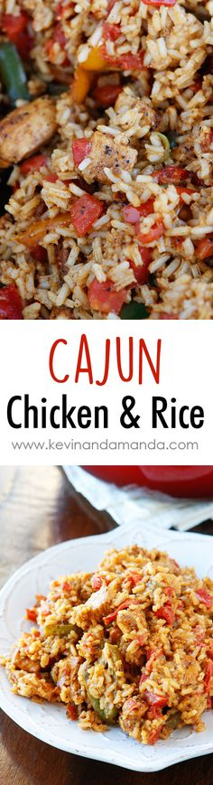 Cajun Chicken & Rice Recipe~ with only 6 ingredients, this is a perfect quick and easy weeknight meal that's great for using up boneless skinless chicken breasts