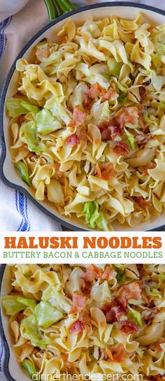 Haluski Noodles are the PERFECT one pot comfort food made from noodles cabbage and bacon sautéed on the stove in butter then finished in the oven ready in under 45 minutes! Bacon Recipes, Casserole Recipes, Crockpot Recipes, Cooking Recipes, Healthy Recipes, Polish Food Recipes, Cabbage And Noodles, Cabbage And Bacon, Cabbage Recipes