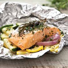 Salmon Packets with Parsley, Rosemary, and Thyme Recipe | Grill | Hannaford