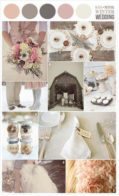 dusty rose neutral winter wedding - minus the orangey color - add slate or soft grey and espresso