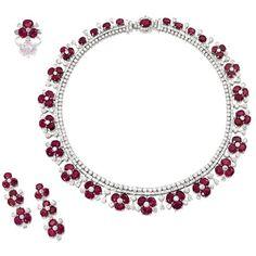 earrings   sotheby's hk0526lot7n6d7en ❤ liked on Polyvore featuring jewelry, earrings, cushion cut earrings, floral earrings, earring jewelry and floral jewelry