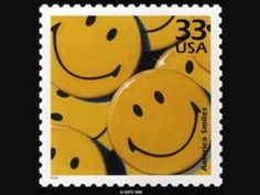 Smiley face button USA postage stamp