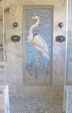 A mosaic in the bathroom... LIKE! But maybe something other then the Blue Heron ;-)