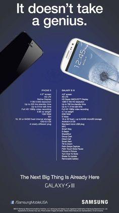 Samsung America compare les capacités de l' #iphone5 et du S3... Y'a pas photo !