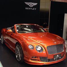 """2015 #Bentley ContinentalGT Speed Convertible Finished In Orange Flames • Follow @grandtouringautos"""