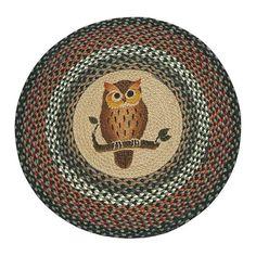 "Owl 27"" Round Braided Jute Rug 66-220O"
