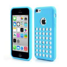 iPhone 5 / 5C Polka Dot TPU Soft Skin Case - Baby Blue