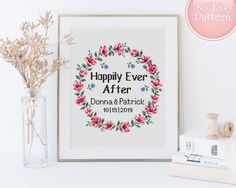 Wedding Cross stitch PDF pattern Happily ever after Flowers Couple Xstitch chart Love cross stitch Cross stitch family Anniversary gift Cross Stitch Family, Cross Stitch Kits, Cross Stitch Designs, Wedding Cross Stitch, Happily Ever After, Diy Wedding, Embroidery Patterns, Anniversary, Handmade Gifts