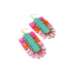 Leather Earrings Neon Dangle Earrings Pink by Christina Anton of BooandBooFactory on Etsy