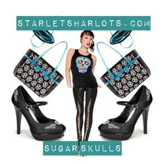 Sugar-Skull-Shoes-Purses by starlets-harlots-com on Polyvore
