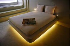 You Are Here - photo by Mark Groeneveld #hotel #hotelroom #interior #design #light #bath #bed #window #futuristic #map #Amsterdam