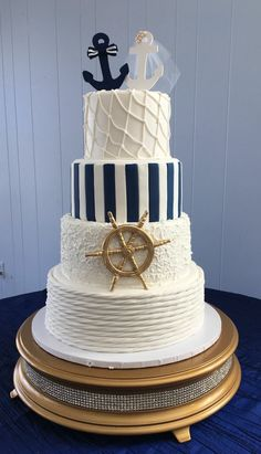 Nautical Wedding Cake Related posts: Beach Wedding Cake Topper – Tied the Knot – Anchor – destination wedding – beach. Nautical Wedding Cakes, Nautical Bridal Showers, Nautical Cake, Pretty Wedding Cakes, Creative Wedding Cakes, Cake Wedding, Beach Themed Wedding Cakes, Themed Weddings, Nautical Wedding Centerpieces