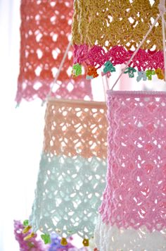 Crocheted lanterns - byClaire - crochet patterns, books and yarn Lampe Crochet, Diy Crochet And Knitting, Free Crochet, Yarn Projects, Crochet Projects, Baby Mobile, Crochet Home Decor, Crochet Accessories, Diy And Crafts