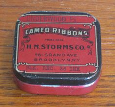 """Vintage Red and Gold Underwood """"Cameo Ribbons"""" Typewriter Ribbon Tin by CanemahStudios on Etsy"""