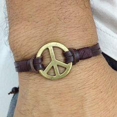 Pulseira Masculina simbolo da paz rock letaher mens bracelets fashion style moda
