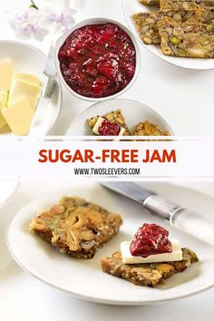 A very simple and tasty Sugar Free Jam recipe that's low carb and totally delicious! This is a great sugar-free jam recipe that you can use for any fruits you chose, including a great keto blackberry jam. Sugar Free Desserts, Sugar Free Recipes, Jam Recipes, Fruit Recipes, Low Carb Recipes, Dessert Recipes, Healthy Recipes, Mixed Berry Jam, Sugar Free Jam