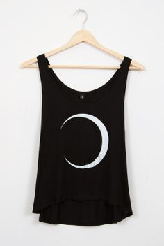 Moon Crescent Black tank top - semi-cropped vest - fashion / ghostly chic.com