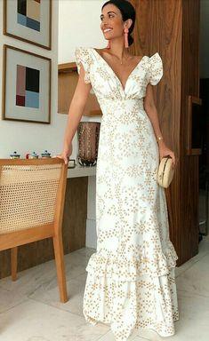 Classy Ruffled V Neck Waist Dress – Cutehana 2019 White Maxi Dresses, Elegant Dresses, Pretty Dresses, Beautiful Dresses, Summer Dresses, Formal Dresses, Awesome Dresses, Fashion Mode, Womens Fashion