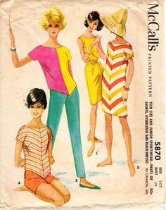 Vintage Sewing Pattern McCalls 5870: Teen Size Sportswear - Pants or Shorts, Overblouse and Beach Dresses    Description: Scoop neck overbouse, with