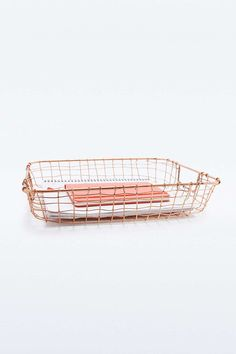 Cabo Copper Letter Basket - Urban Outfitters from Urban Outfitters. Cabo, Blow Bar, Urban Outfitters, Book Stationery, Stationary, New Room, Office Interiors, Copper Wire, Decoration