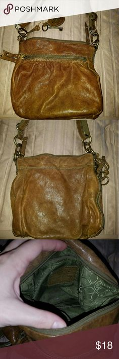 Fossil purse Olive green/brown? Used Fossil purse. Good condition, small discoloration displayed in pictures, no hole or tears. Fossil Bags Shoulder Bags